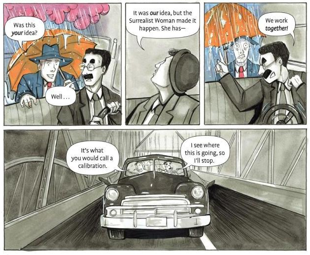 Detail of four panels from page 115 showing Groucho putting a stop to a joke by Chico.
